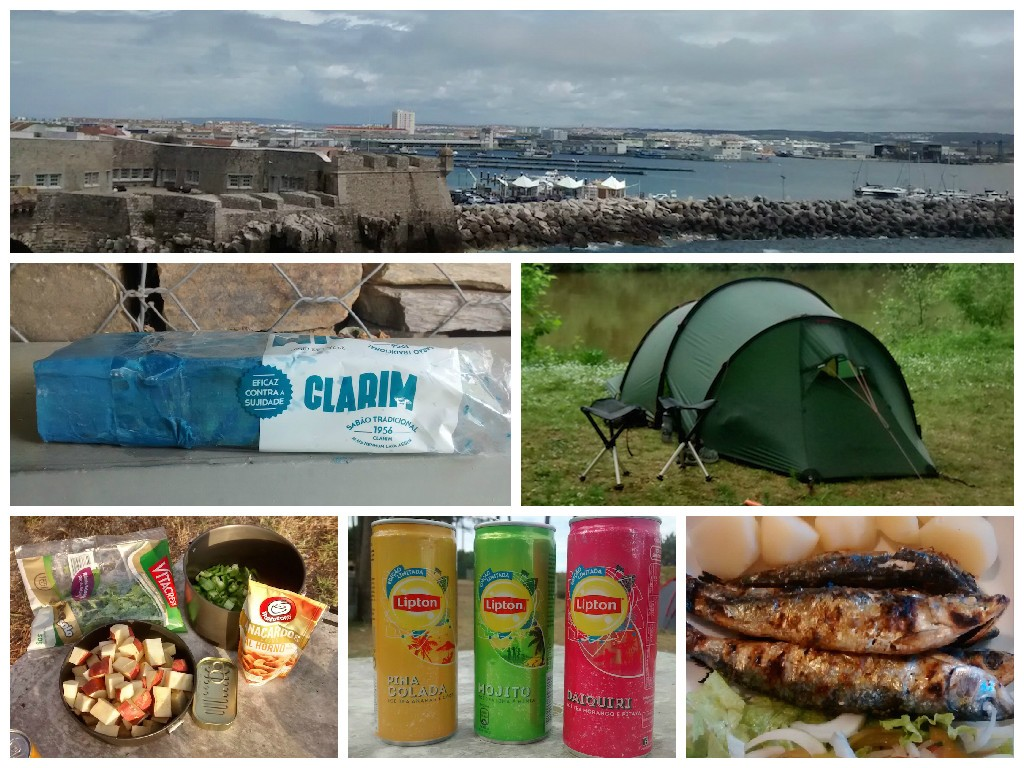 Clockwise from top: View of Peniche harbour. Terry the Hilleberg Nallo 3GT tent. Grilled sardines. Lipton cocktail drinks (no alcohol). What's in the Pot ingredients.