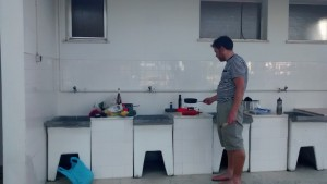 Our kitchen - we commandeered the washing up sinks at the creepy campground
