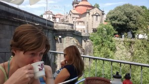 Coffee with a view of Amarante's medieval bridge and monastery