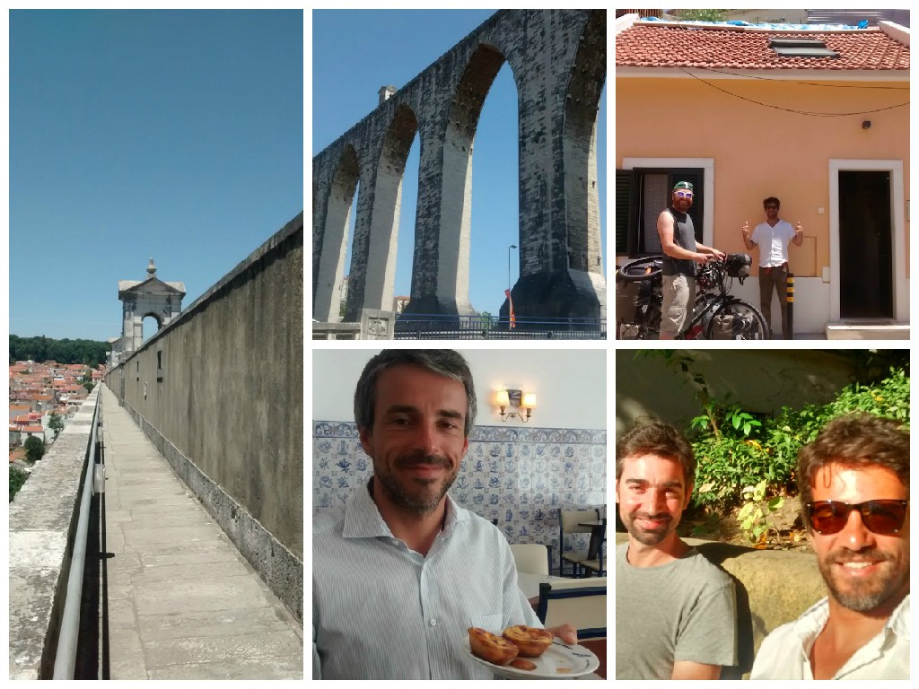 Clockwise from top left: On the aquaduct. View from below the aquaduct. Our house and host in Lisbon. Nuno Libório & José Branco from LisbonStorySailors.pt. Miguel Clarinha, Manager at Pasteis de Belem.