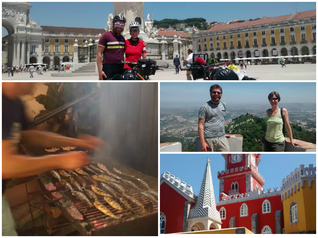 Clockwise from top: Arrival at Praca do Comercio, Views from Sintra's hills, Sintra or Disneyland? Sardines on the grill in Alfama.