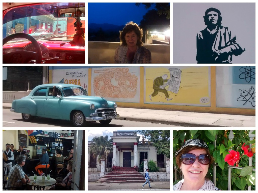 Clockwise from top left: Havana taxi, Sheila at La Ceiba, Che, street scene, Sheila and hibiscus, old school, bar in Santa Clara