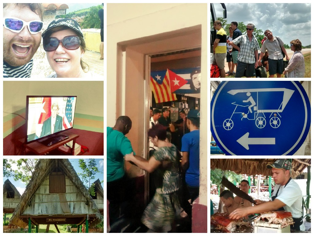 Clockwise from top left: Sheila and Baden in Trinidad, dancing in Santa Clara, waiting for bus tyre change, cycle taxis, pig on a spit in Las Tarrazas, cabana in Las Terrazas, John Kerry on Cuban tV
