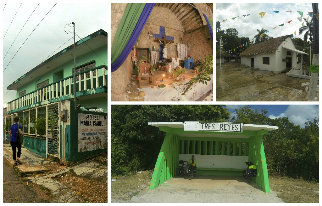 Clockwise from bottom right: shelter from the sun; hotel in Felipe Carrillo, the Talking Cross; Sanctuary of the Talking Cross