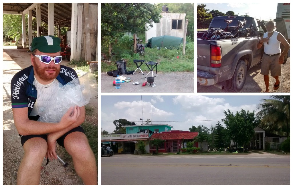 Clockwise from bottom right: Pedro Santos (triage is under the tree on the right); Baden struggling with heat exhaustion; our impromptu campsite; got a ride with Manuel to rescue the bikes