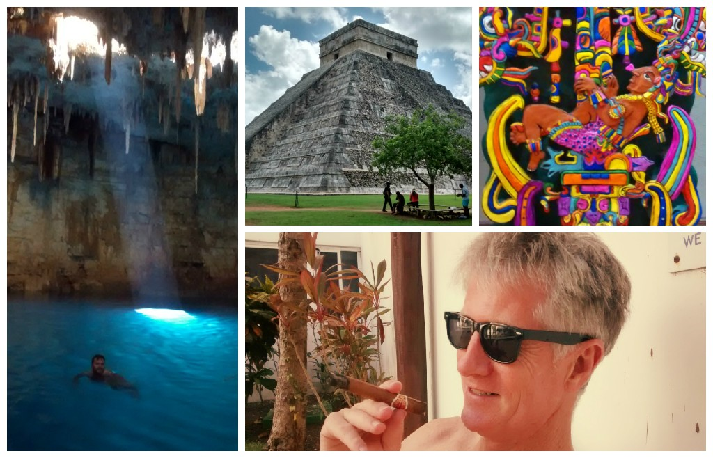 Clockwise from top left: Baden swimming in a cenote; Chitchen Itza; Casa de los Venados folk art; Alan enjoying his Cuban poolside.