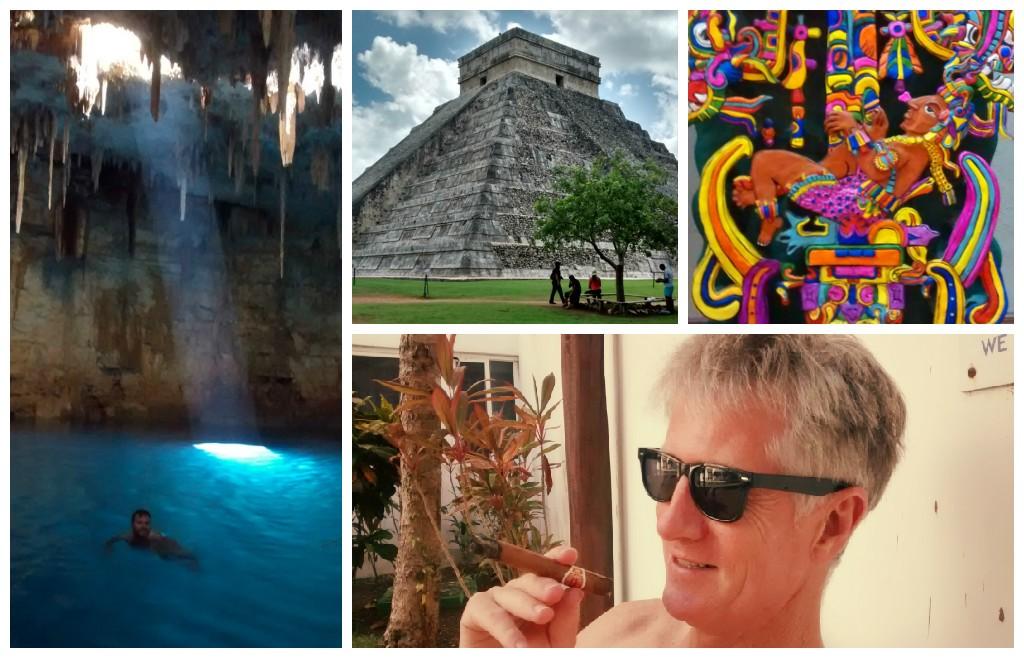 Clockwise from top left: Baden swimming in a cenote; Chitchen Itza; Casa de los Venados folk art; Alan enjoying his Cuban poolside.