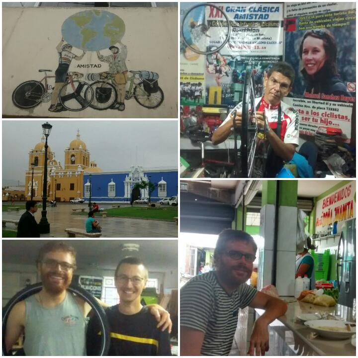 Clockwise from top left: logo for Trujillo cycling house; Luis the owner; Baden at the offending market restaurant; Baden with Jean-Baptiste and the miraculous new tyre; Aji de gallina-coloured church.