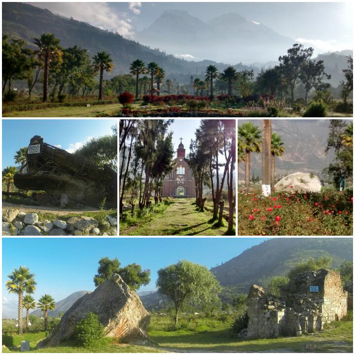 From top and left to right: View of the memorial park with mountain behind; crushed bus; replica facade of the church, one of the huge boulders from the mountain that wreaked such destruction; remains of the original church.