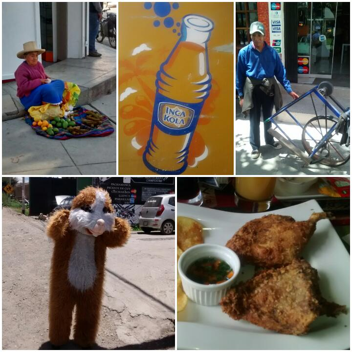 Clockwise from top left: fruit seller with traditional hat; Inca Kola advert; street knife sharpener; guinea pig , or cuy, for lunch; guinea pig mascot outside restaurant.