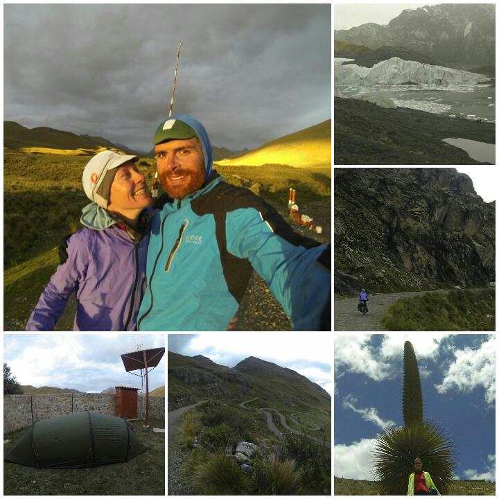 Clockwise from top left: happy campers admire the sunset; Pastoruri glacier; dwarfed on the way down; Puya plant; the road down the mountain; campsite in the National Park.