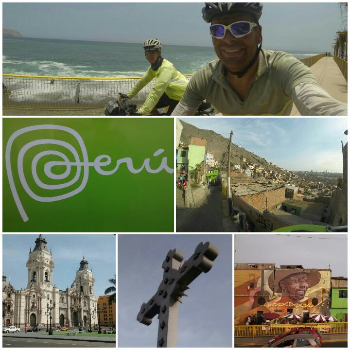 Clockwise from top: arriving on the beachfront; view on the way to Cerro San Cristobal; street art in Rimac; lots of religious symbolism here; Lima's cathedral; Peru's branding.